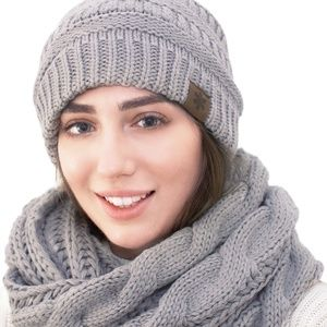 hat scarf set for women grey